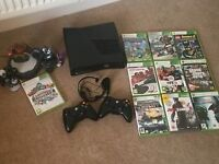 XBOX 360 S 250 GB with 10 games, skylander figures and platform & 2 wireless controllers