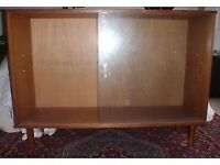 Glass-fronted bookcase, two sliding doors