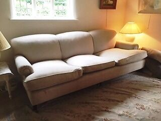 Beautiful George Smith Short Scroll Arm Signature Sofa Two Armchairs In Basket Weave Oatmeal Linen