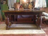 Solid dark oak extending table seats 10/12 when extended
