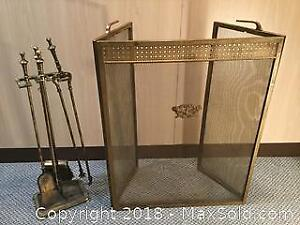 Vintage Fireplace Screen And Utensils