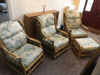 Full set of conservatory furniture, 3 chairs and footstool, priced for quick sale