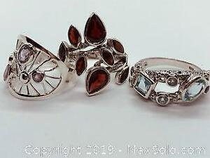 3 Stamped 925 Silver Rings with Garnets, Amethysts and Aquamarines Size 10