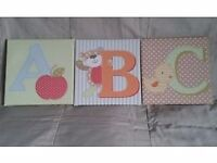 ABC Canvas Nursery Pictures x3