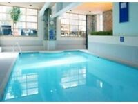 King sized room with private river view balcony, en-suite w/jacuzzi, large lounge, sauna, pool, gym.