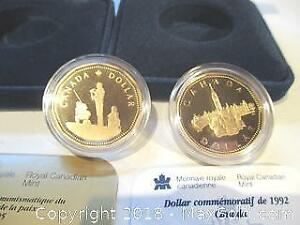 Two Royal Canadian Mint Cased Commemorative Dollars. 1992 Parliament Loony And The 1995 Peace Keeping Loony.