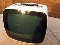 Retro Black and White Portable TV Mains/Battery, Indesit made in Italy, £10 Southbourne