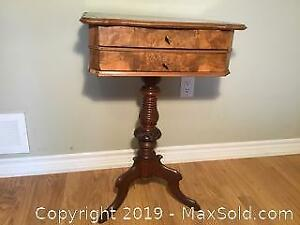 Antique 2 Drawer Tripod Pedestal Side Table