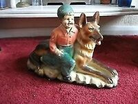 LARGE OLD FIGURE OF BOY WITH GERMAN SHEPHERD DOG