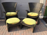 Two Patio chairs with two Foot stools