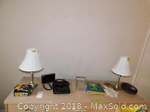 Pair Of Table Lamps, Camera And More - A