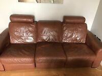 Brown leather manual reclining 3 seater sofa and electric recliner chair