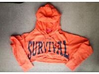 PINEAPPLE CROPPED WOMAN SIZE LARGE PEACH COLOUR HOODIE £10.00 COLLECTION ONLY 100% COTTON