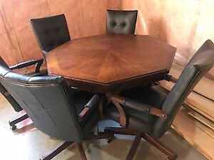 Hardwood poker/card table with 8 leather/wood chairs