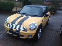 Mini Cooper 2007 yellow and black fullyloaded fsh long mot a lovely car high spec/ wheels/interior