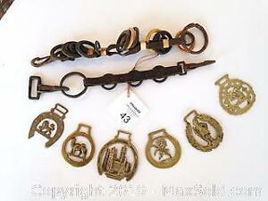 Leather and brass horse decorations. C