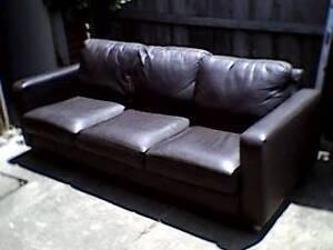 Felix 3 seater chocolate brown Italian Leather sofa Edithvale Kingston Area Preview