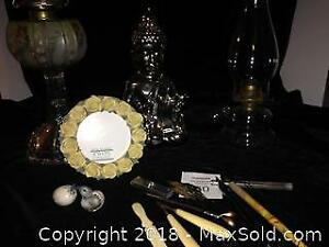 Floral Picture Frame, Glass Lanterns, Silver Buddha, Ivory Handle Tools, Pen Nibs, Pair Miniature Bird Decor