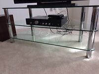 Chrome and glass tv stand
