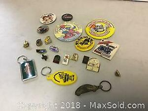 Vintage Metal Lapel pins Buttons and Key Fobs