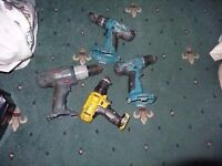 Job lots 4 cordless drills no tested for spares or repairs: 2 MAKITA 8391D 18v and 14.4v