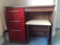 Co-ordinated Bedroom Furniture, Red Gloss and Walnut