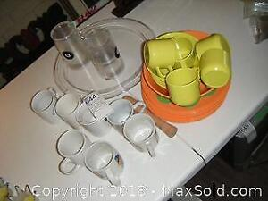 Plastic Dishes And Mugs A