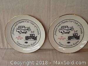 Pair Of Antique Car Club Numbered Collector Plates