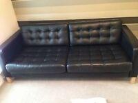 Ikea KARLSFORS Three-seat black leather sofa, like NEW! MUST GO This week