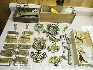 Large Quantity of Brass Hardware and Clock Parts - Some Vintage