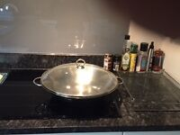 Large Stainless Steel Cooking WOK and glass lid