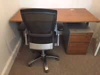BENE HEIGHT ADJUSTABLE DESK, DRAWERS AND KNOLL OFFICE CHAIR