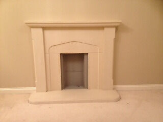 Light stone effect fire surround and hearth. In pieces and ready to take away.