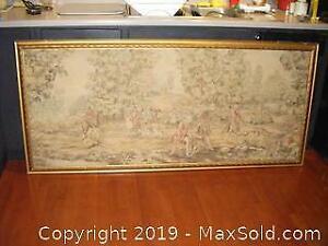 Large Old Framed Tapestry A