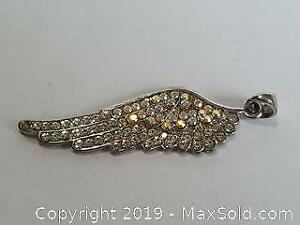 Silver toned Angel Wing with Aurora Borealis and rhinestones