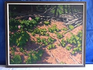 """Oil Painting- """"Wild Roses in Forest"""" by Don Weir"""