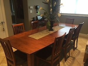 Beautiful Birch Dining Room Table With 8  Chairs