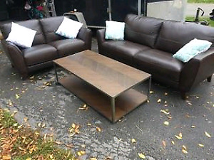 Top Grain Leather Couch Set