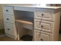 URGENT!!! Near perfect condition white vanity unit with stool - solid wood