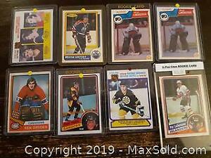 Eight 1980s Hockey Cards Stars and Rookies