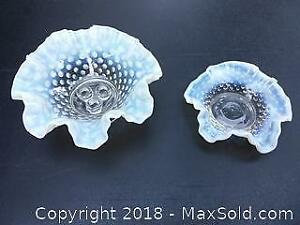2 opal essence hobnail fluted dishes