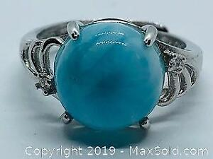 Ladies 925 Silver Ring with Large Blue Agate Size 5 Adjustable