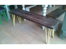 rustic solid oak bench with hairpin legs