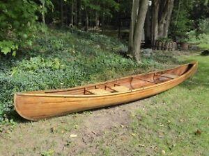 Hand crafted 16' cedar strip canoe