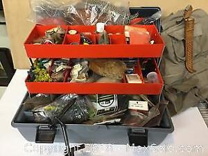 Fly fishing tackle box and contents with vest