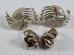 Two Pairs Of Clip Earrings Silver And Gold Toned