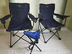 Folding Camp Chairs (2) & One Campstool (Category C)