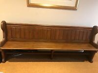 A Solid oak (very heavy) in great condition Church Pew . 210 CM in lengh