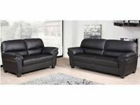 ITALIAN PU LEAHTER 3 AND 2 SEATER SOFA SET IN BLACK OR BROWN ARMCHAIR AVAILABLE