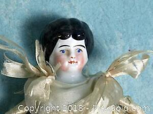 Antique 1870 German China Head Doll House Dolly Madison head